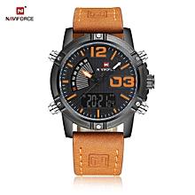 NF9095M Male Dual Movt Watch Calendar Luminous 3ATM Genuine Leather Band Wristwatch-ORANGE