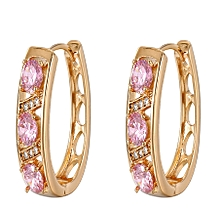 Gold Coated Pink Earrings Loops