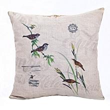 Lively Spring Square Linen Pillow - White