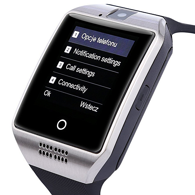 Bluetooth Smart Watch Q18 With CamFacebook Whatsapp Sync SMS MP3 Smartwatch  Support SIM TF Card For IOS Android Phone(Sliver) XJMALL