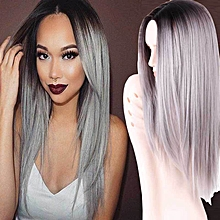 Wig Soft Hair Extension Synthetic Headwear Women Hair Accessory Long Straight Mixed Color-grey