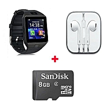 Gift Bundle Of DZ-09 Smart Watch Phone With Free 8gb memory card And Earphone - Black
