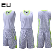 Customized Name Number Brand Men's Basketball Training Sports Jersey Set-White(1006)