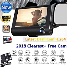 Eastmanshop NEW 4'' HD 1080P 3 Lens Car DVR Dash Cam Vehicle Video Recorder Rearview Camera