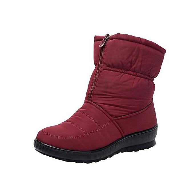 356380ec49e Jiahsyc Store Women's Ladies Winter Waterproof Martin Short Snow Boots  Footwear Warm Shoes-Red