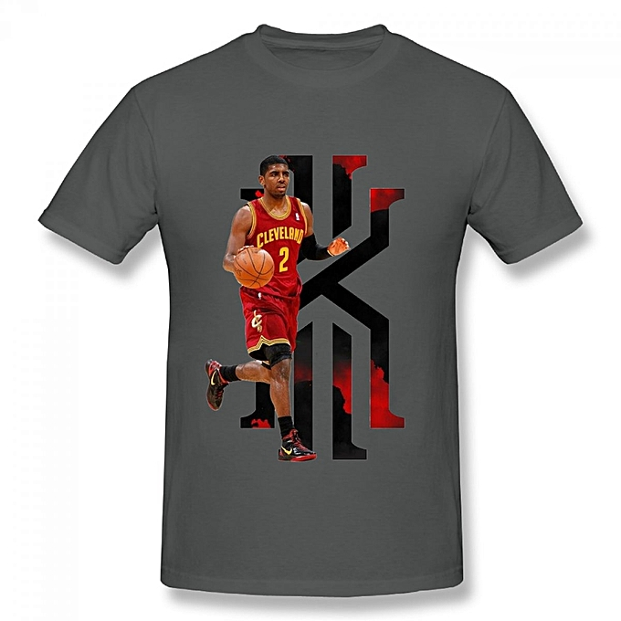 new product 8e660 ca3b6 Cleveland Cavaliers Kyrie Irving Men's Cotton Short Sleeve Print T-shirt  Grey