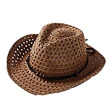 4082eabc0e198 jiuhap store Summer Baby Cowboy Straw Hats for Children Summer Beach Sun  Hat Caps-Coffee