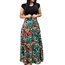 3998f89e6f9 Explosive version of European and American style flower print color  matching dress long skirt women