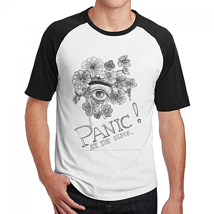 0b5fa245 Panic At The Disco Men's Cotton Short Baseball Raglan Sleeves T-Shirt Black