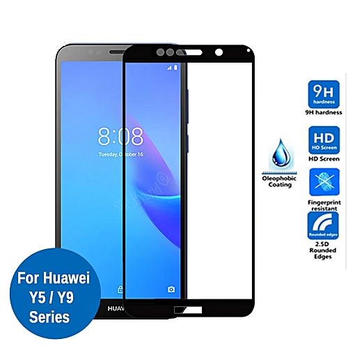 Tempered Glass For Huawei Y5 Lite Full Cover Protective Glass On Y 5 Y5  prime Y5lite 5lite Y9 2018 2019 Y92019 Screen Protector(Color Black)