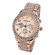 Geneva Women's  Wrist Watch   Women Fashion Luxury Crystal Quartz Watch RG@Rose Gold