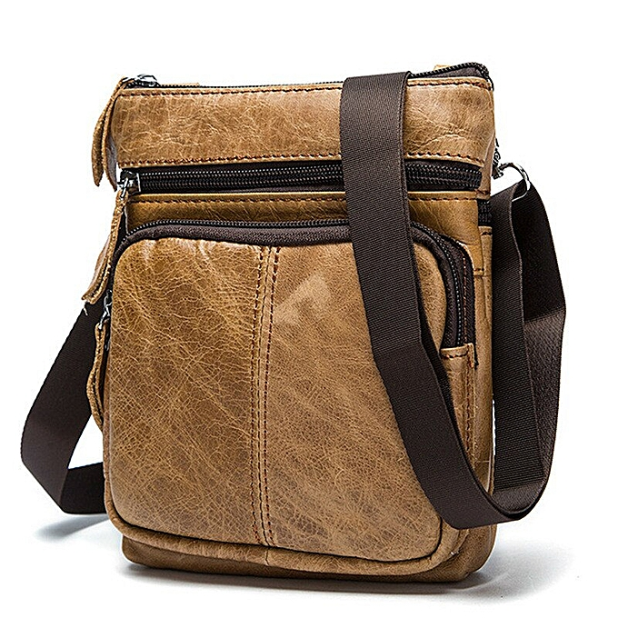 1999088a2fa8 Small Messenger Bag Men Shoulder bag Leather Zipper Pocket Crossbody bags  for Messenger men Leather bags Handbags STM701(Huang Zong)