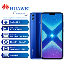 HUAWEI Honor 8X 6.5-Inch (4GB, 64GB ROM), Android 8.1, 20.0MP/16.0MP, 4G Phablet - Blue