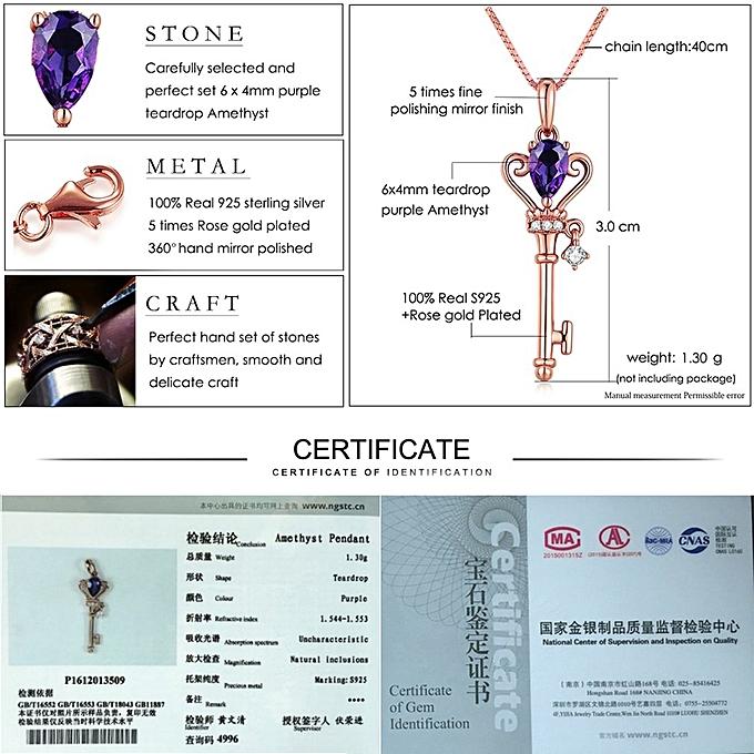 LAMOON Key Pendant Necklace Teardrop Amethyst 925 Sterling Silver Rose Gold