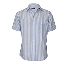 Blue with White Stripes Short Sleeved Shirt