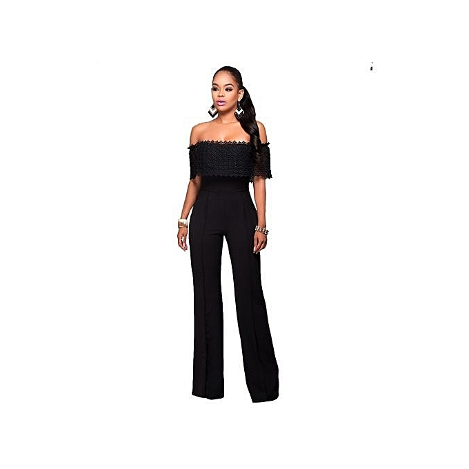 0f5a1746314 2018 New Womens Off Shoulder High Waisted Long Wide Leg Jumpsuits Rompers -black