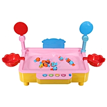Wooden Angling Toy Magnetic Fishing Board Game For Young Children Kids Colorful Pink