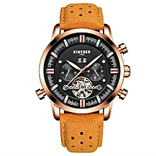 Business Watch 3ATM Water-resistant Automatic Mechanical Watch Luminous  Leather Wristwatch Male Relogio Musculino Calendar
