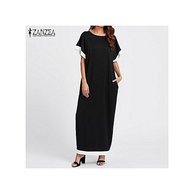 89b3dae2cfc7 ZANZEA Womens Short Sleeve Splice Casual Party Evening Plus Long Maxi Dress  Black