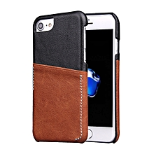 For iPhone 8 7 Genuine Cowhide Leather Color Matching Back Cover Case with Card