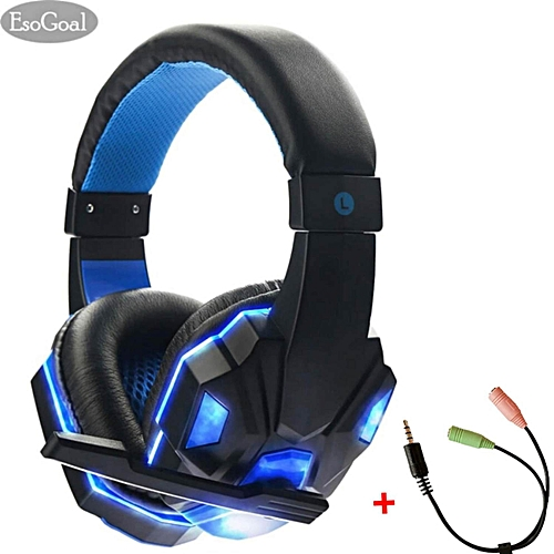 Game Headset Wired Gaming Workout Headphone Sport Earphones with Microphone support PC Smartphone Android phone with Splitter Cable