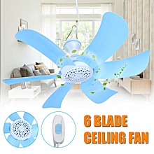 220V Portable 6 Blades Mini Ceiling Fan Easy Hang Easy Hang Power Plug Switch