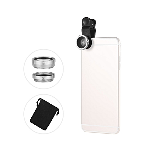 Generic Universal Clip Lens Kit 180° Mobile Phone Fisheye Lens 0.67× Wide Angle Lens Macro Lens 3 in 1 with Clip for iPhone Samsung Huawei Smartphone Lens ...