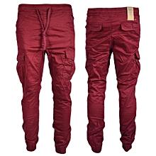 Maroon Men's Cargo Pant-Stylish Pocketed