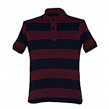 Maroon and Navy Striped Mens Polo Shirts