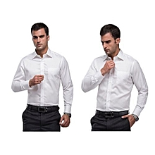 2 Pack Official White Shirts  - Long Sleeve+Free a pair of socks