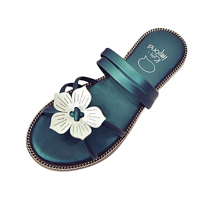 972535656a23a Blicool Shop Women Sandals Women Bohemia Summer Flower Weave Sandals Beach  Peep-Toe Flip Flops ...
