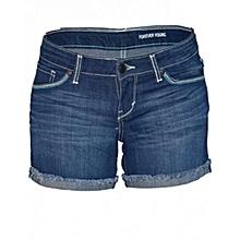 Blue Ladies Shorty Shorts