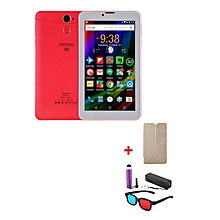 "A7 Plus Kids Tablet – 7""  – 1GB RAM – 16GB ROM – Wi-Fi - 4G (Single SIM) - Red with with Free Stylus, Cover, Powerbank & 3D Glasses"