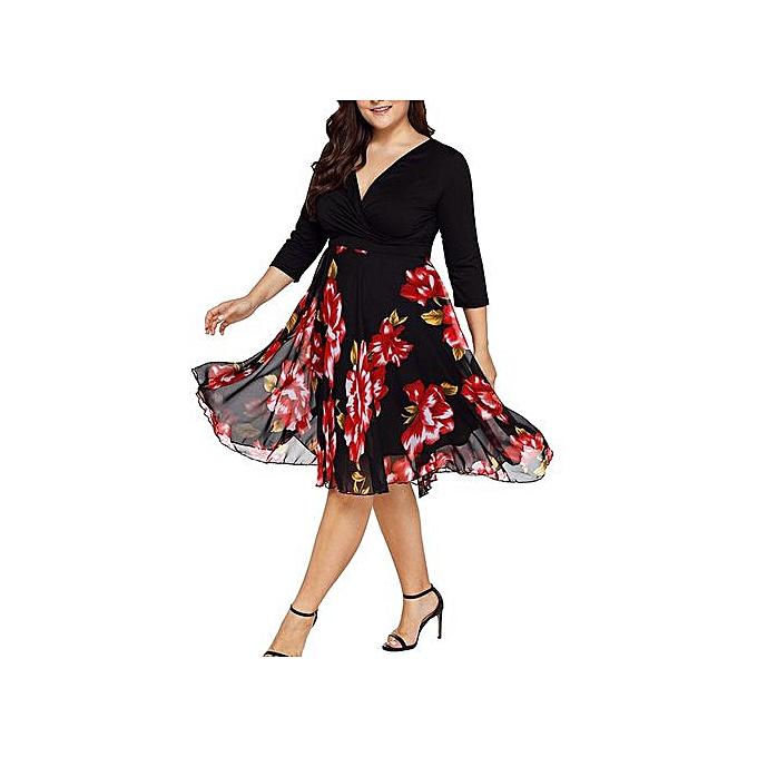 69350ebf95 Hiaojbk Store Women Midi Dresses V Neck Wrap Chiffon Floral Long Sleeve Plus  Size Prom Dress