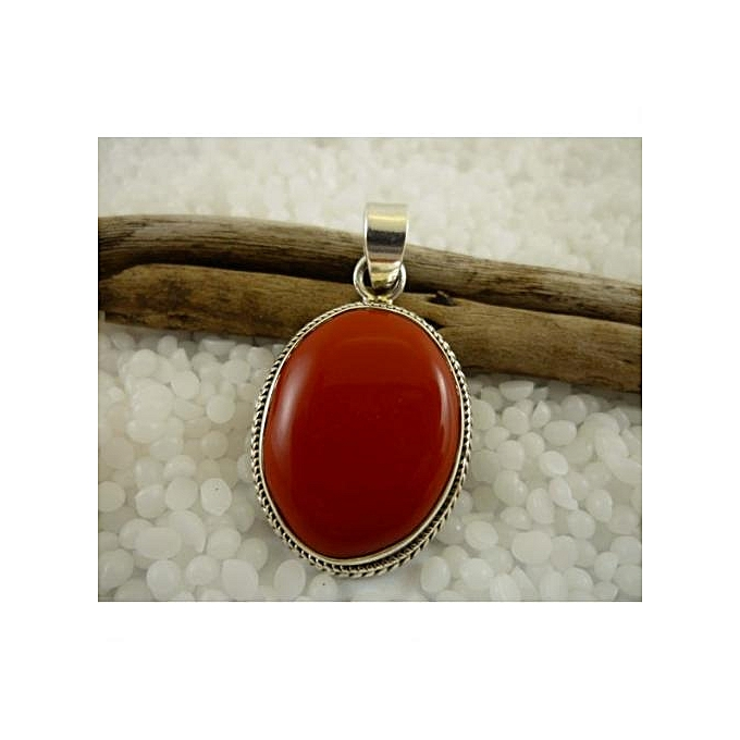 gemstone macrame quartz pendant red jewelry oval coral