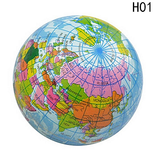 Earth Globe Stress Relief Ball rld Map Foam Toys Fiddle Special Needs for  Kids 60\76\100mm