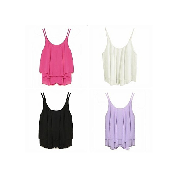 7dfe5bc9b430d Sexy Womens Chiffon Tank Tops Summer Sleeveless Spaghetti Strap Crop Top  Ruffles Double Layer Casual Solid