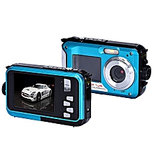 Double Screen Waterproof Camera 24MP 16x Digital Zoom Dive Camera -Blue