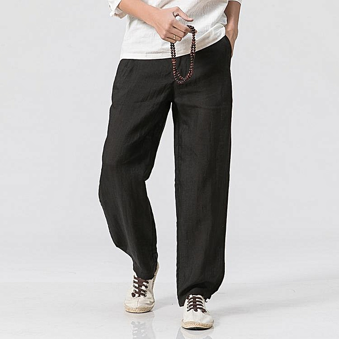 296fa5cba2a6c Men s Loose Cotton Linen Casual Pants Breathable Summer Spring Large Size  S-3XL Straight Trousers