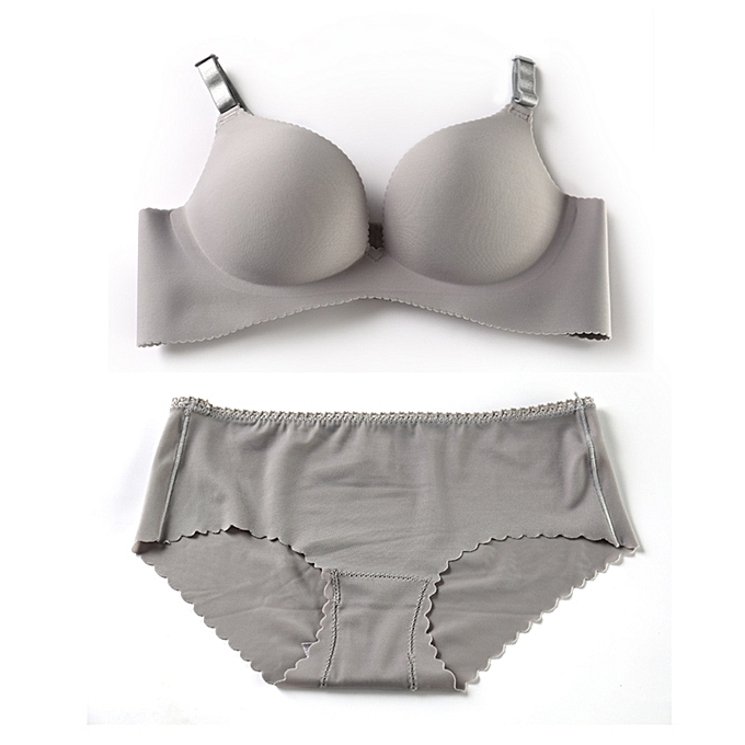 8995c18824 LARS Sexy Grey Seamless Spandex Panty and Bra Set with cotton lining ...