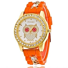 Owl Quartz Clock Female Popular Relogio Luxury Diamond Ladies Wristwatches Women Silicone Chain Fashion Watch(Orange)