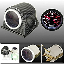 "2"" Turbo Boost Gauge Meter Universal Smoke Tinted W/ Faux Carbon Fiber Pod PSI"