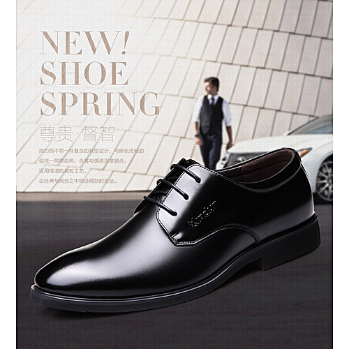 7189a6e888 Generic Spring Men s Leather Shoes Men s Shoes Young Business British Black  Leisure Leather Round-Headed Dress Shoes Men