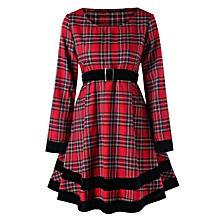Women Trendy Tartan Plaid Dress - Red