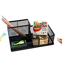Desk  Organizer Black School Office Multi-function Metal Grid Pen Holder