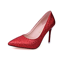 Fashion Sexy Party Club Rhinestones Super Pointed Office Lady 11cm High Heels Shoes - Red.