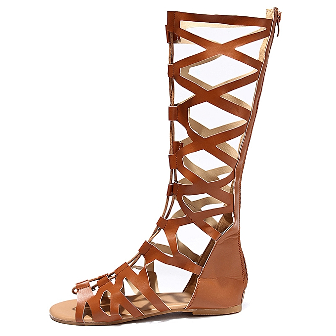 80ffcf87d Fashion Women s Knee High Lace Up Leg Wrap Strappy Flat Sandals Shoes