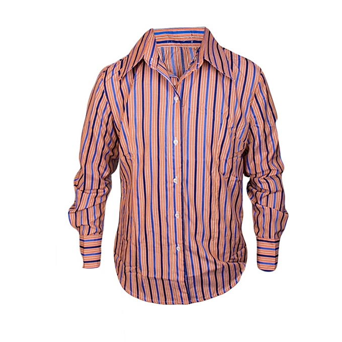 c65d2d465818 Kivenst Fashion Long Sleeve striped orange shade(yellow and blue ...