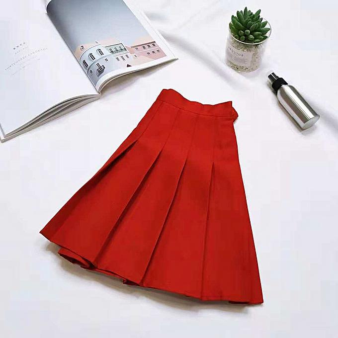 f3c1d5da618 jiahsyc store LadiesCasual Wild Solid Pleated Skirt Mini Skirt