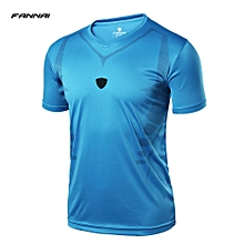 FANNAI Men Short Sleeve T-Shirt V-neck Sports Top Quick Dry Running Top FN07  L